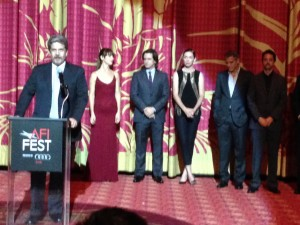 """August: Osage County"" Director John Wells with cast members Juliette Lewis, Dermot Mulroney and Julianne Nicholson."